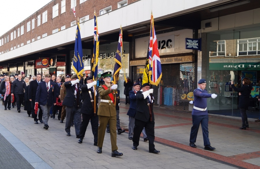 Sir Mike joins the Royal British Legion parade in the town centre